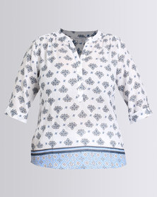 Queenspark Plus Collection Blues Tile Print Ghost Woven Shirt White
