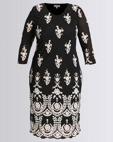 Queenspark Plus Collection Border Floral Mesh Knit Dress Black