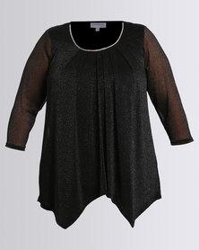 Queenspark Plus Collection Glitter Mesh Knit Top Black