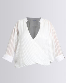 Queenspark Plus Collection Cross-Over Woven Blouse Cream