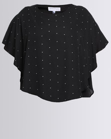 Queenspark Plus Layered Iron On Knit Dress Black
