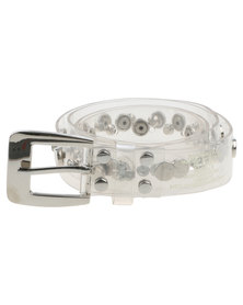 Queenspark Flat Stud And Diamante Jelly Belt Clear