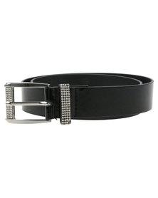 Queenspark Patent Strap With Diamante Buckle Belt Black