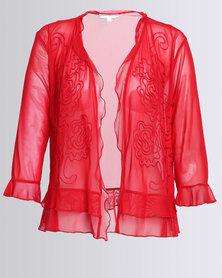 Queenspark Plus Cornelli Mesh Knit Jacket Red