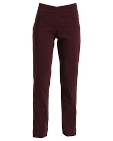 Queenspark Pull On Woven Trouser With Zip Detail Red