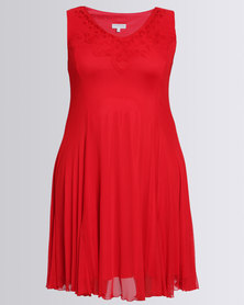 Queenspark Plus Sleeveless Cornelli Mesh Knit Dress Red