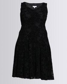 Queenspark Plus Sleeveless Flocked Mesh Knit Dress Black
