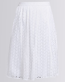 Queenspark Lace Spot Elasticated Woven Skirt White