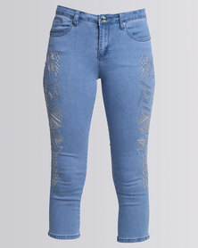 Queenspark Embroidered Capri Jeans Blue