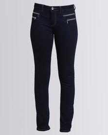 Queenspark Long Woven Denim Jeans With Zip Details Indigo