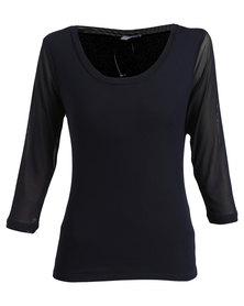 Queenspark Mesh 3/4 Sleeve Core Knit T-shirt Blue
