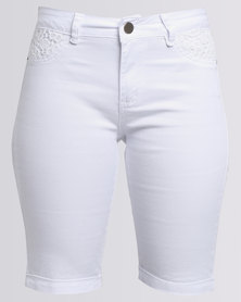 Queenspark Woven Denim Short With Lace Detail White