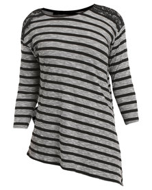 Queenspark Cath.Nic Black Aztec Assymetrical Knit Top Grey