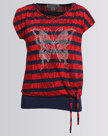 Queenspark Stripe Double Layer Knit Top With Butterfly Detail Red