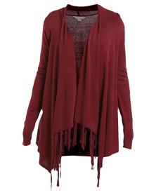 Queenspark Plain Tassel Knitwear Cardigan Red