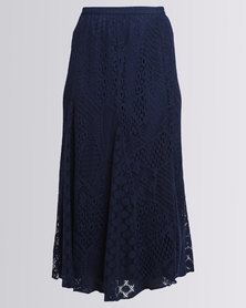 Queenspark Long Lace Woven Skirt Navy
