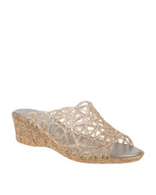 Queenspark Low Heel Lattice Jelly Mule Gold