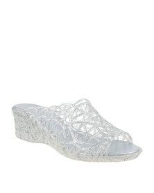 Queenspark Low Heel Lattice Jelly Mule White