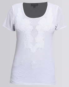 Queenspark Embroidered Detail Mesh Knit Top White