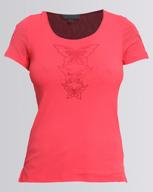 Queenspark Butterfly Mesh Knit Top Coral