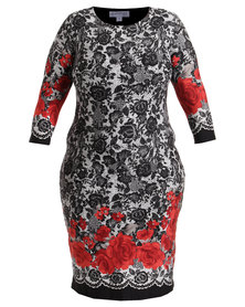 Queenspark Plus Collection Updated Border Print Knit Dress Multi