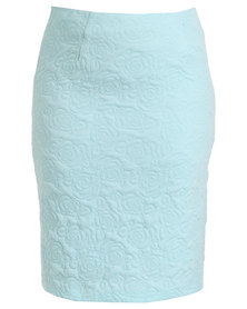Queenspark Plus Collection Rose Design Knit Skirt Blue