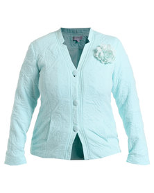 Queenspark Plus Collection Rose Design Knit Jacket Blue