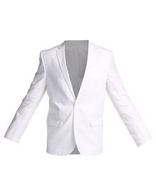 Queenspark Linen Cotton 2 Button Jacket White