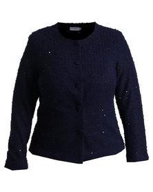 Queenspark Plus Sparkle Knit Jacket Navy