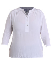 Queenspark Plus Special Button Woven Casual Shirt White