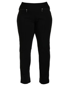 Queenspark Plus New Pull On Zip Woven Pant Black