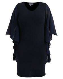 Queenspark Plus Collection New Flatter All Knit Dress Navy
