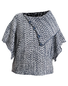 Queenspark Plus Collection Poncho Knit Jersey Multi