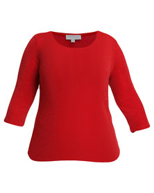 Queenspark Plus Collection Glitter Knit Top Red