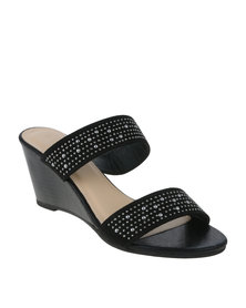 Queenspark Double Band Mule On Sprayed Stack Heel Black