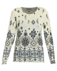 Queenspark Printed Roundneck Long Sleeve Knitwear Light Yellow