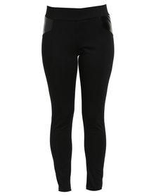 Queenspark Cath. Nic Pleather Inset Ponti Trouser Black