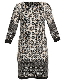 Queenspark Border Printed Casmillon Knit Dress Multi