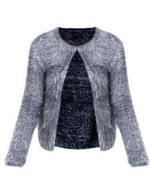 Queenspark Faux Fur Knitwear Cardigan Blue