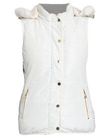 Queenspark Sleeveless Woven Fur Lined Puffer Jacket Cream