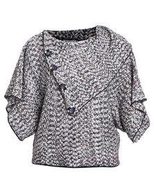 Queenspark Marled Split Cowl Knit Jersey With Button Detail Grey