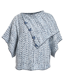 Queenspark Marled Split Cowl Knit Jersey With Button Detail Blue