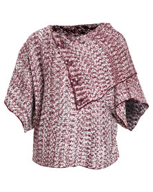 Queenspark Marled Split Cowl Knit Jersey With Button Detail Red