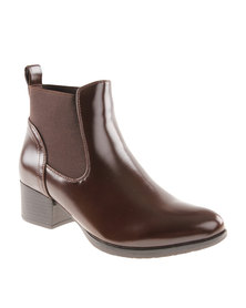 Queenspark Classic Ankle Boot with Gussets Brown