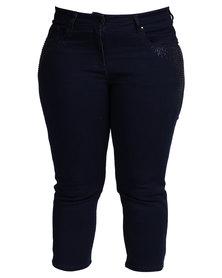 Queenspark Sparkle Woven Capri Jeans Blue
