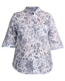 Queenspark Monotone Linen Woven Shirt Blue