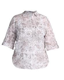 Queenspark Monotone Linen Woven Shirt White