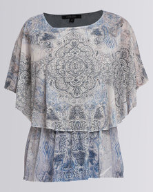 Queenspark Cath.Nic Paisley Print Knit Top Beige