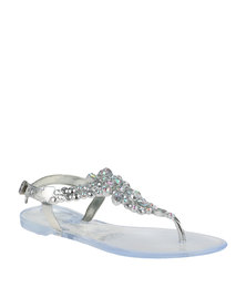 Queenspark Heavily Jewelled Jelly Ankle Strap Sandal Silver