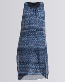 Queenspark Cath.Nic Italian Design Sleeveless Woven Dress Blue